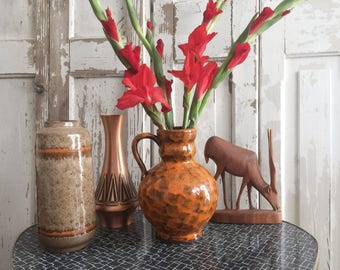 70s – rustic glaze vase Orange