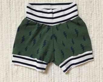 SALE - Baby Boy Shorts - Navy and Blue Stripes and Lightning bolts