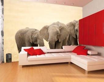 Elephants wallpaper  || Peel & stick || self adhesive and removable || Reusable || High Quality materials || DIY