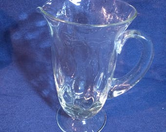 Lovely Vintage Clear Glass Pedestal Water Jug with Wave Pattern