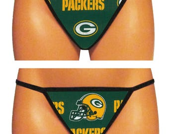 Green Bay Packers Thong/G-String (Green 2 - Made From 100% Cotton Licensed NFL Fabric)
