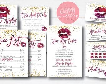 Lipsense business card bundle, tips and tricks, application instructions, loyalty, thank you, marketing branding kit, Glitter