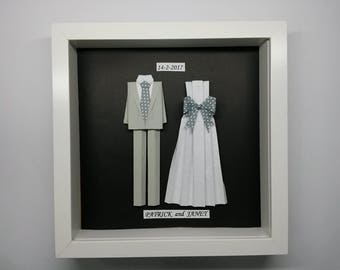Wedding Gift - Origami Suit For 1st Anniversary, Wedding Or Unique Personalized Gift.