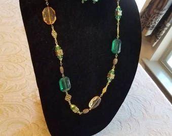Golden Key Lime Necklace and Earring Set