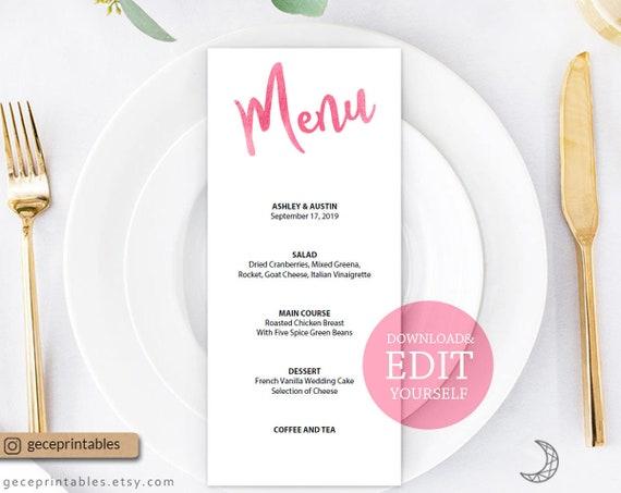 Pink Wedding Menu Editable Template Reception Dinner
