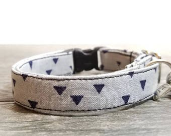 Geometric Cat Collar,Triangle cat collar,Gray Cat Collars, Breakaway Collars, Cotton Cat Collars, Cat Collars, Kitty Collar, Cats Collar