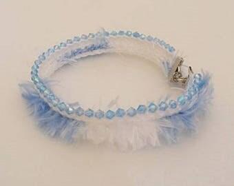 So Cute Blue and White Beaded Crochet Ankle Bracelet
