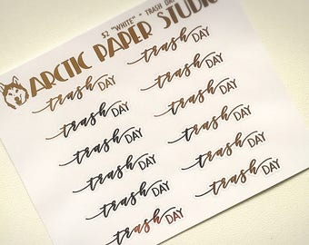 Trash Day - SCRIPTS - FOILED Sampler Event Icons Planner Stickers