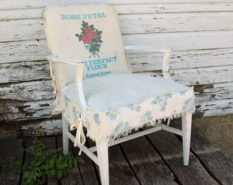 Vintage Flour Feed Sack Slipcovered Chair - Rose Petal Flour - Bedroom Living Room Chair