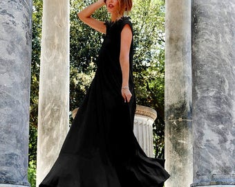 SALE 25% OFF Maxi dress, Plus size maxi dress, White maxi dress, Trapeze dress, Airy dress, Plus size sundress, Abaya, Concert Dress, Toga