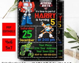 INSTANT DOWNLOAD - Rescue Bots Invitation Digital, Rescue Bots Editable, Rescue Bots Birthday, Rescue Bots Invitation, Rescue Bots Party