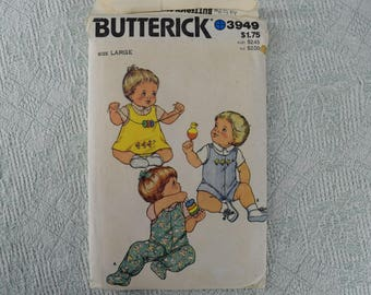 Butterick Sewing Pattern 3949 size large infants jumper panties overalls shirt from the 1980s