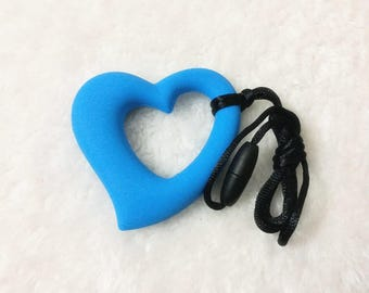 Blue Heart Silicone Pendant,For Jewelry Making  Heart Silicone Teether, Silicone Necklace, Silicone Pendant, Silicone Sensory Beads