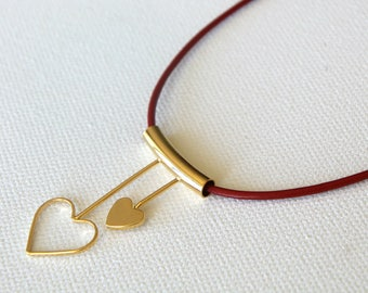 gold  heart pendant necklace/ Double hearts pendant necklace/ red leather cord necklace/ Gold plated heart pendant/ gift for her