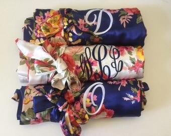 Satin bridesmaid robes, bridesmaid gifts, matching wedding pajamas, bridal robes, getting ready robes, bridal party robe bridesmaid proposal