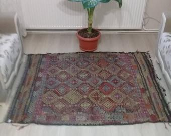 "Oushak Rug Area Rug Turkish Rug,3'8""×4'11""feet, Office Decor,,Home Living, Turkish cicim rug,Vintage Rug,fashion rug,etsy rug,"