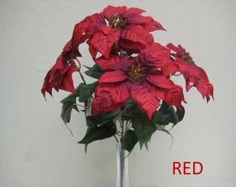 """Christmas Poinsettia Glitter Bush 5 Artificial Silk Flower 18"""" Bouquet 139"""