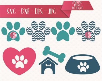 Dog Love Collection, Dog paw svg file, Dog love svg, SVG cutting file, Pet cutting files for cricut, Paw print SVG, for use with Silhouette