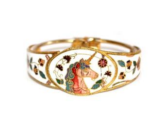 Unicorn Clamper Bangle. Vintage Cloisonne Enamel Unicorn Bracelet. Cloisonne Bangle. Unicorn. Vintage Bracelet. Cloisonne. Clamper Bangle.