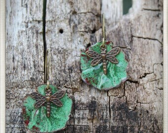 Enameled lily pad and dragonfly earrings