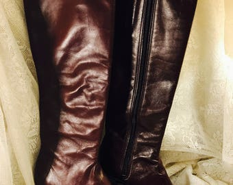 Vintage Tall Brown Leather Boots - Zipper - Size 4 Medium