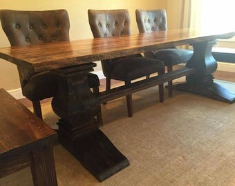 """8' x 42"""" 100% Solid Hard Maple Turned Pedestal Trestle Table (Table Only)"""