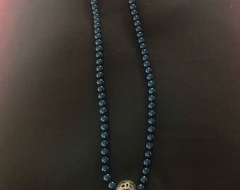 Blue Beaded 'Art Deco' Necklace