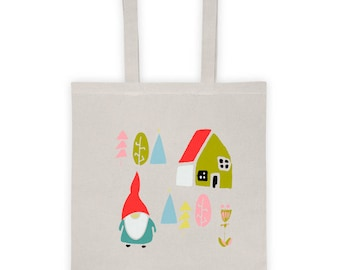 Tote bag, Bag, shopping bag, tote, canvas tote bag, cotton tote bag, Christmas gift bag, Christmas bag, Christmas gift idea - Gnome