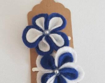 Blue Flower Hair Clip - The Penny