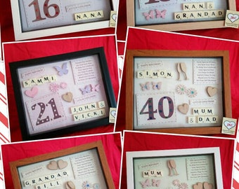 16th 18th 21st 30th 40th 50th PERSONALISED BIRTHDAY KEEPSAKE picture frame gift