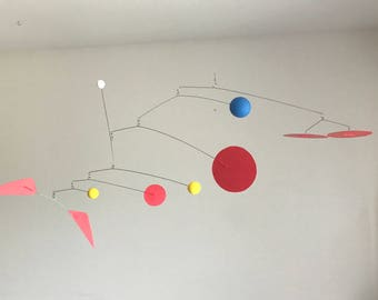 Hand-Painted Alexander Calder Inspired Mid-Century Modern Abstract Wood/Metal Mobile Sculpture #2