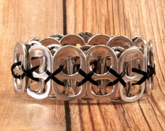 Upcycled Soda Can Tab Bracelet - Black