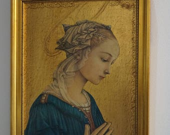 Filippo Lippi, detail of the Virgin and child, collage on wood.