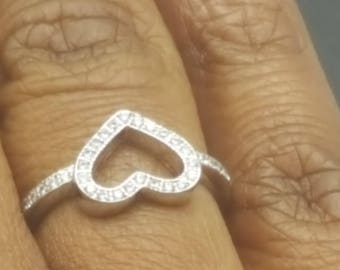 Cz Micro Pave Hollow Silver Heart Ring