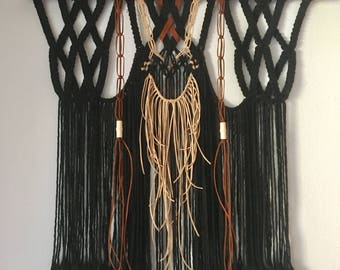 Macrame, Macrame Wall Hanging, Fiber Art, Tribal, Cotton & Suede