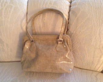 Tan Faux Patent Leather Handbag