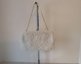 Magid Vintage Cream Hand Beaded Evening Bag