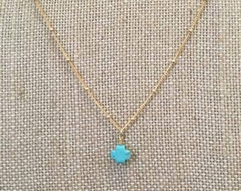 Blue cross. Gold Chain. Necklace. Jewelry. Gift. Present. Custom.