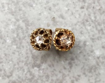 Antique Late Victorian 14k Yellow Gold Buttercup Earrings with Rose Cut Diamonds, 6 mm diameter
