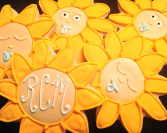 Sunflowers and babies | Custom decorated baby shower cookies | Yellow flowers | Baby Faces