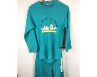 ELLESSE Sweatshirt and Pants Full Set Activewear With Big Spell Out Logo Size 160
