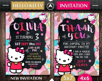 Hello Kitty Invitation, Hello Kitty Birthday, Hello Kitty Invite, Hello Kitty Party, Hello Kitty Printable, Hello Kitty Card
