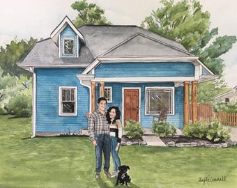 Custom House Painting with Dog and/or people-Watercolor House Portrait