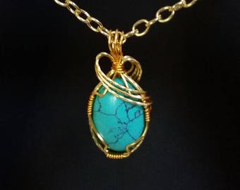 Wire Wrapped Turquois Pendant