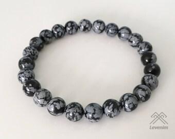 Snowflake Obsidian bracelet - Obsidian bracelet - Mens bracelet - Unisex bracelet - Beaded bracelet - Snowflake Obsidian beads - Obsidian