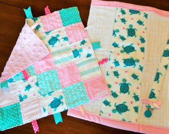 Sea Turtle & Pink Baby Tag Blanket Gift Set