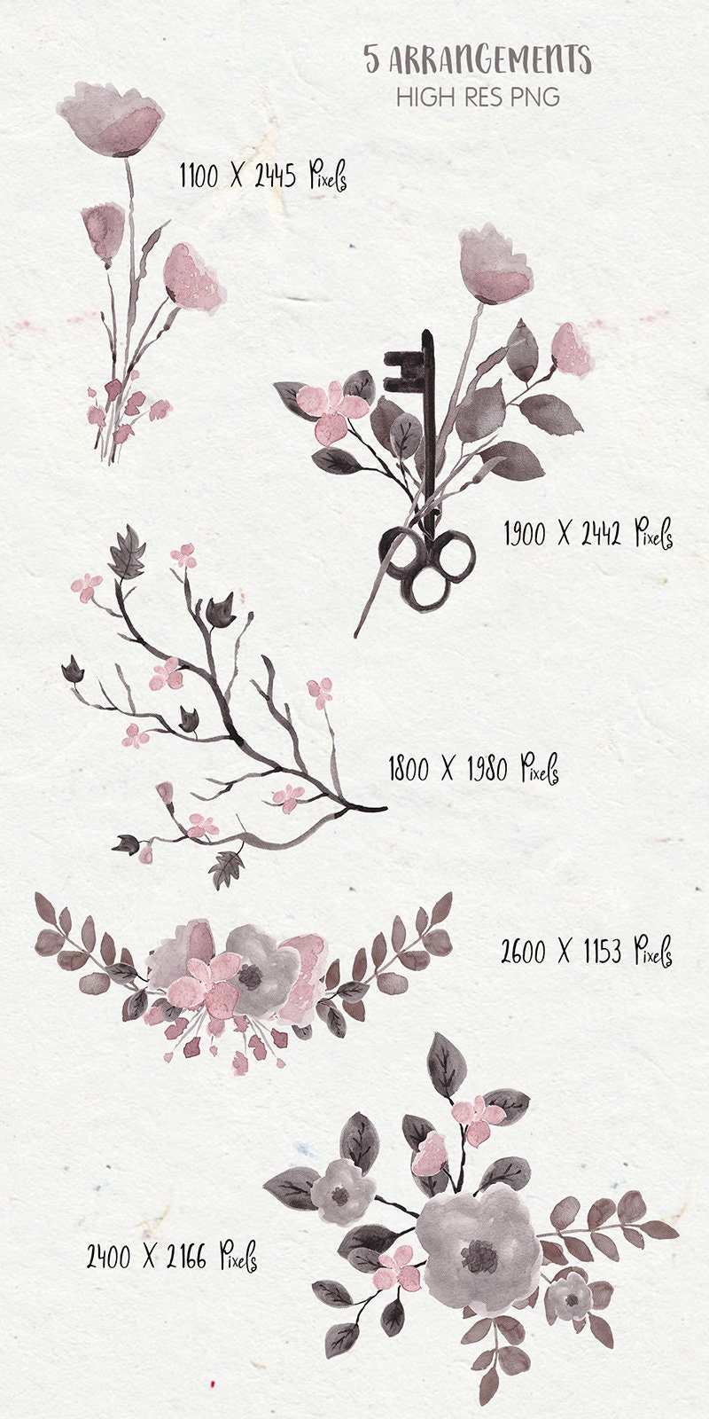 Floral clipart gothic flowers gothic clipart dark flowers this is a digital file kristyandbryce Images