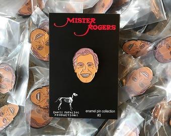 Mr. Rogers head enamel pin