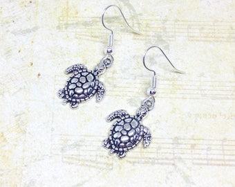 Turtle Earrings, Charm Earrings, Turtle Jewellery, Animal Earrings, Nature Jewelry, Silver Earrings, Sea Turtle Charms, Nature Gift