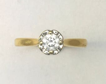 Vintage Platinum and 18CT Gold Diamond Solitaire Ring